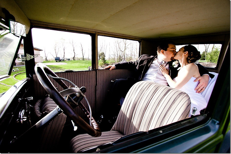 Bride and Groom inside Model T at Whispering Pines, Carlisle PA