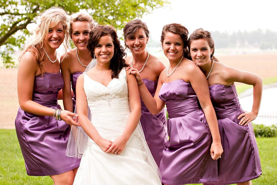Bridesmaids with bride at Lancaster County Wedding