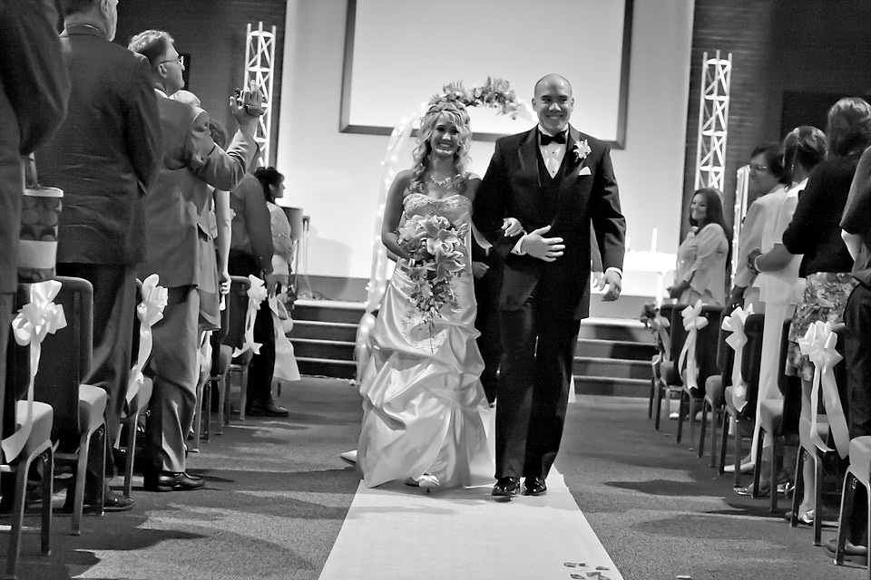 Happy Couple walking down the Aisle at LifePoint Church, Harrisburg PA