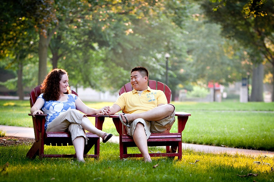 couple sitting in chairs at Dickinson College