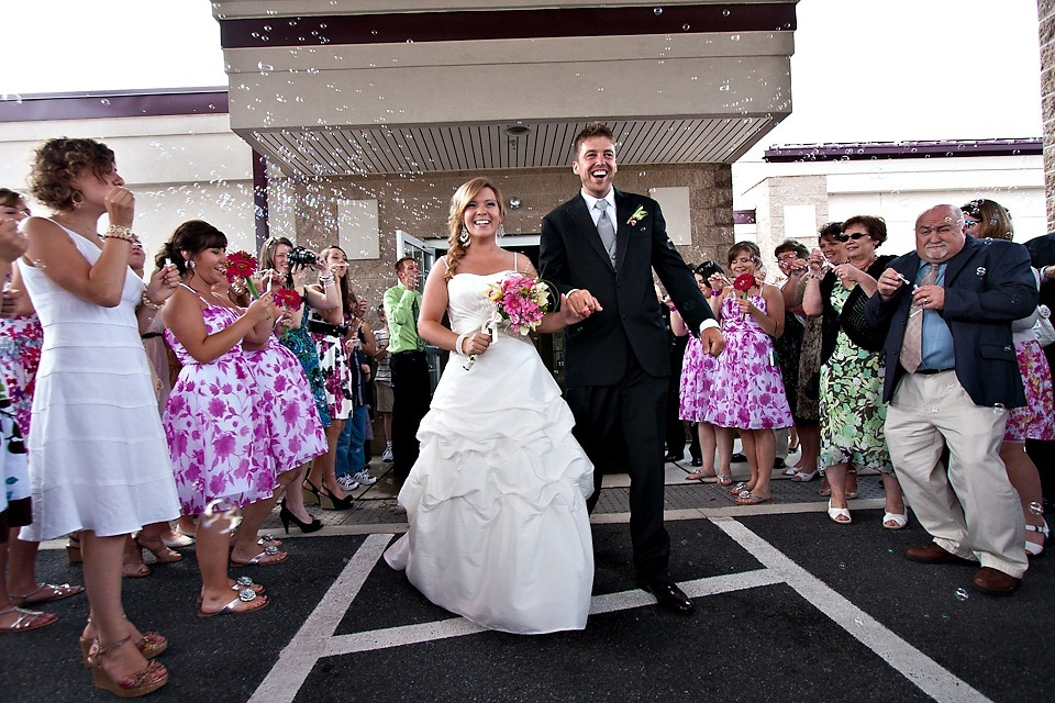 bride and groom leaving Ephrata Community Church
