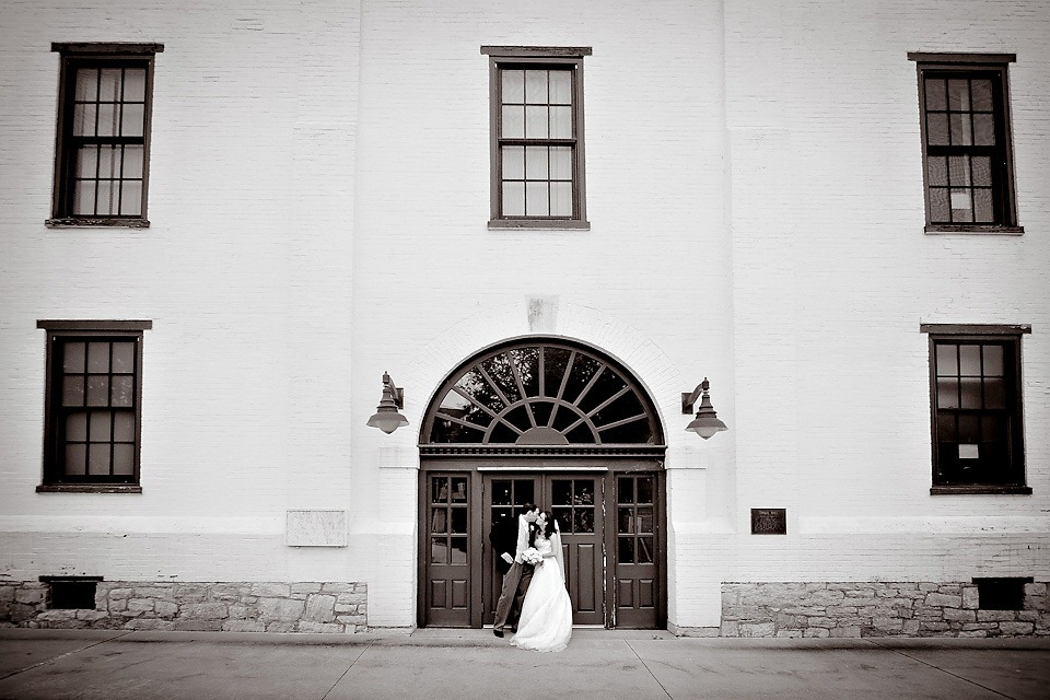 Bride and Groom in front of Army War College building