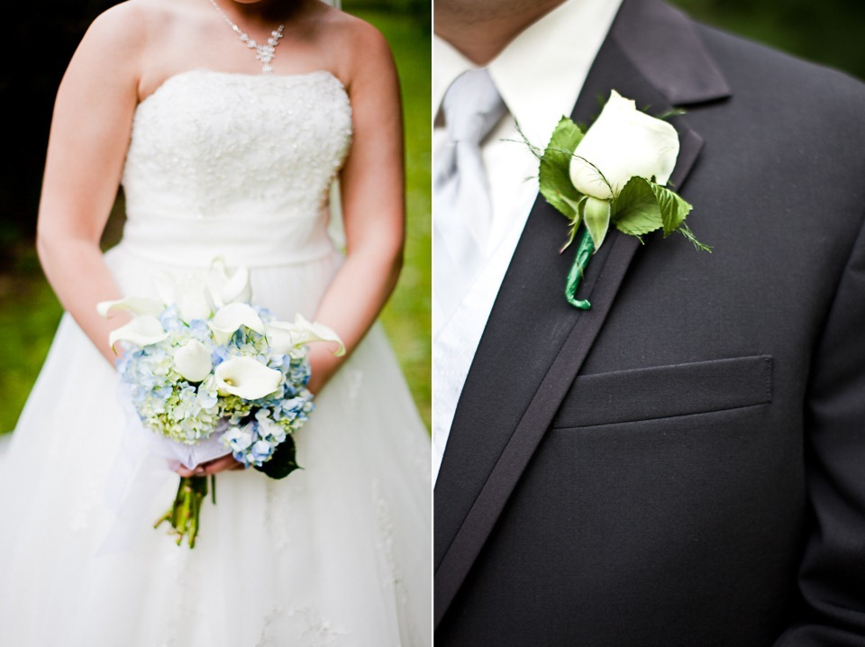 close up of bride and grooms flowers