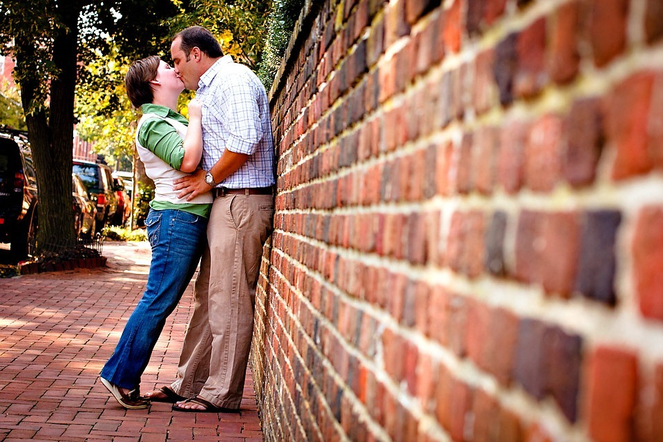 Brick wall kissing