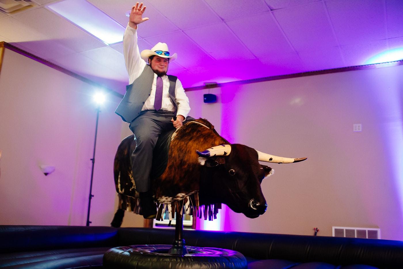 mechanical bull wedding photography