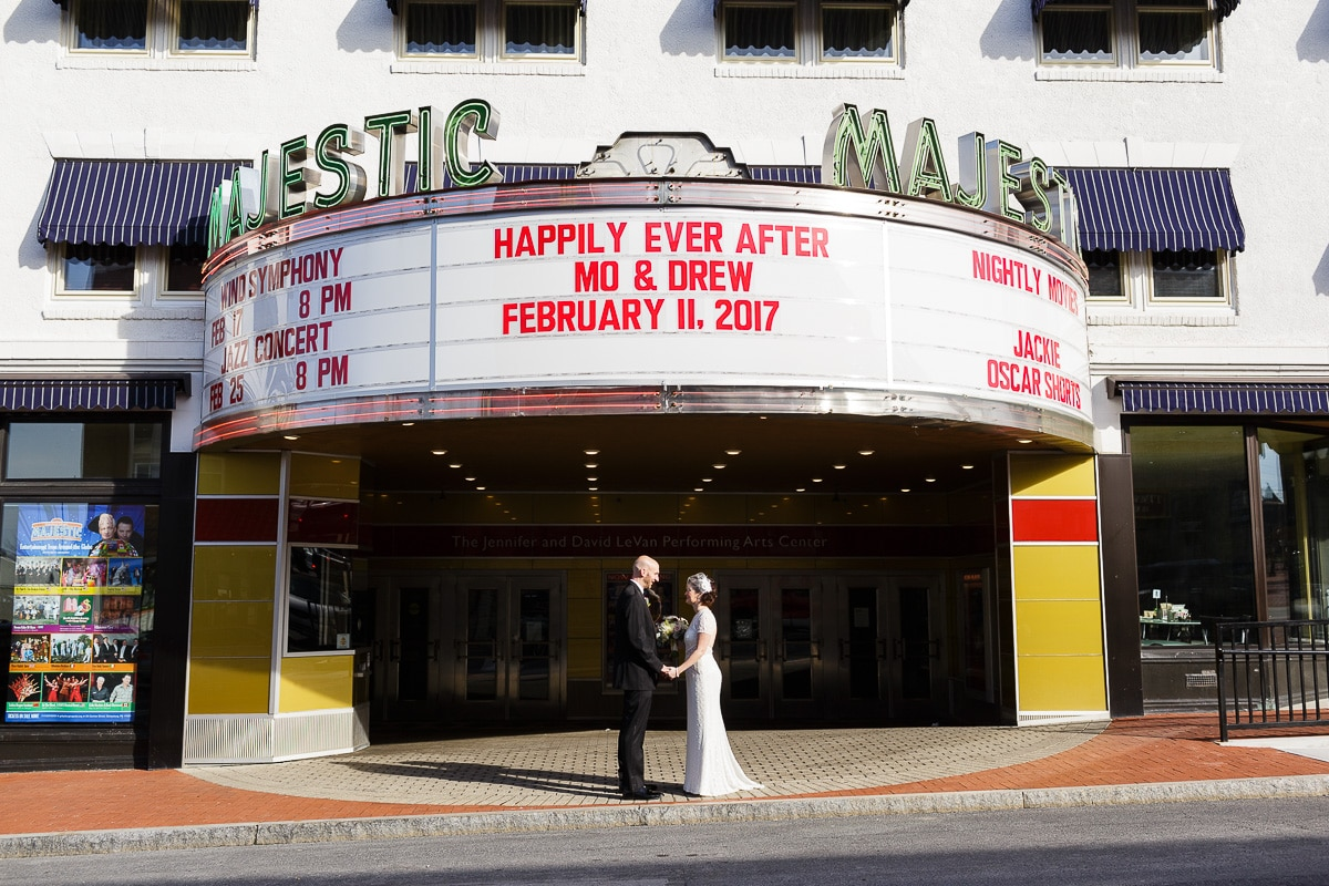 Gettysburg Majestic Theater Wedding Photo